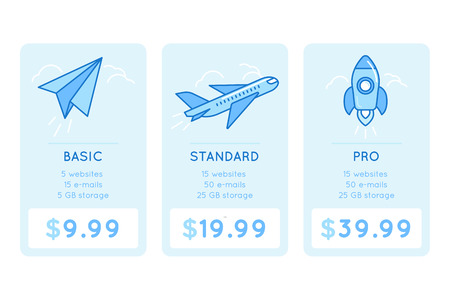 design template for pricing table for website with icons and illustrations in linear style - different subscription plans for businesses - basic, standard and pro