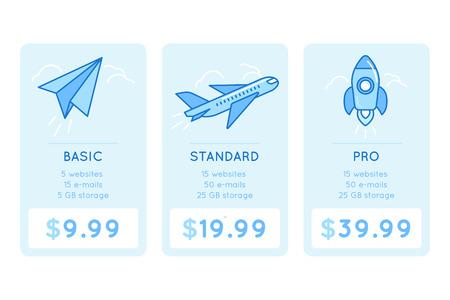 ontwerp sjabloon voor de prijstabel voor de website met pictogrammen en illustraties in lineaire stijl - verschillende abonnementen voor bedrijven - basic, standard en pro