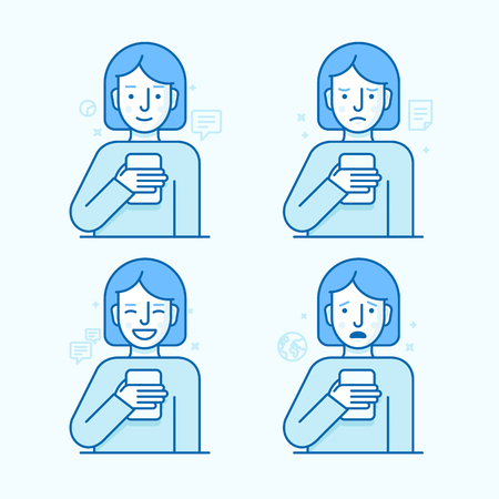 newsfeed: set of illustrations of the female character in trendy flat linear style - girl holding mobile phone with different expressions of face - smartphone addict - receiving notifications, messages and news from her device