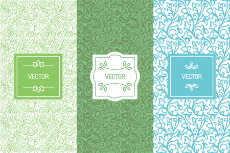 Vector set of design elements, seamless patterns and label templates for cosmetic and beauty product packaging, healthy and organic food , business card backgrounds with copy space for text, in trendy minimal linear style with floral ornaments and frames