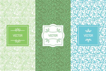 Vector ensemble d'éléments de conception, les modèles sans couture et des modèles d'étiquettes pour l'emballage cosmétique et de produits de beauté, santé et aliments biologiques, milieux de cartes d'affaires avec copie espace pour le texte, dans un style linéaire minimal à la mode avec des ornements et des cadres floraux Vecteurs