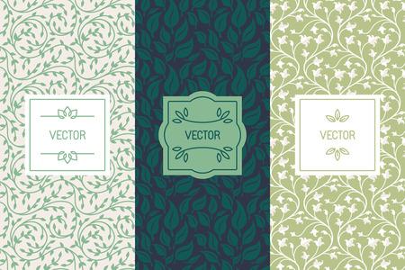 Vector Reihe von Verpackungs-Design-Vorlagen, nahtlose Muster und Rahmen mit Kopie Platz für Text für die Kosmetik, Beauty-Produkte, Bio und gesunde Lebensmittel mit grünen Blättern und Blüten - modernen Stil Ornamente und Hintergründe