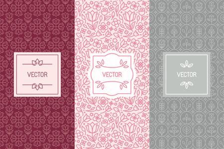 Vector ensemble d'éléments de conception, les modèles sans couture et des modèles d'étiquettes pour les produits cosmétiques et de beauté d'emballage ou de carte de visite de milieux avec copie espace pour le texte, dans un style linéaire minimal à la mode avec des ornements et des cadres floraux Vecteurs