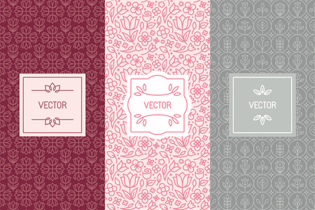 Vector set of design elements, seamless patterns and label templates for cosmetic and beauty product packaging or business card backgrounds with copy space for text, in trendy minimal linear style with floral ornaments and frames
