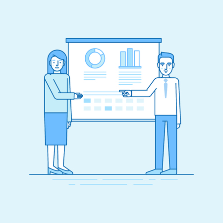 business event: Vector illustration in flat linear style and blue colors - business conference and team training event - man and woman speaking in front of the screen with information and statistics