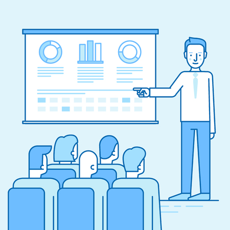flat screen: Vector illustration in flat linear style and blue colors - business conference and team training seminar - male speaker and the projection screen with information and sales statistics in front of audience and people