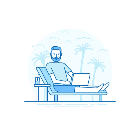 nomad: Vector illustration in flat linear style and blue colors - remote work concept - digital nomad - man working at his laptop sitting on the beach - outsource and freelance job