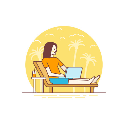 Vector illustration in flat linear style and blue colors - remote work concept - digital nomad - woman working at his laptop sitting on the beach - outsource and freelance job Illustration