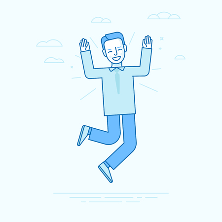 Vector illustration in flat linear style and blue colors - happy jumping businessman - smiling man - victory concept