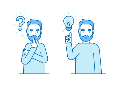 Vector illustration in flat linear style and blue colors - problem solving concept - wman thinking - with question mark and light bulb icons - creative idea