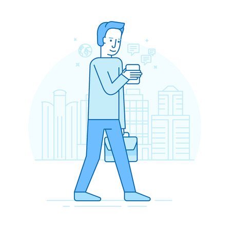 newsfeed: Vector set of illustrations of the male character in trendy flat linear style - guy holding mobile phone - smartphone addict - receiving notifications, messages and news from his device