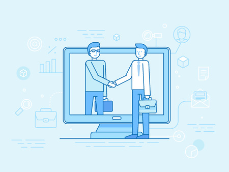 clients: Vector illustration in flat linear style and blue - outsource business and remote work concept - partners shaking hands - online cooperation