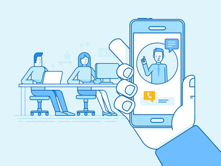 outsource: Vector illustration in flat linear style and blue colors - remote work concepts - online conference with outsource creative team of people sitting in coworking space with mobile phone call
