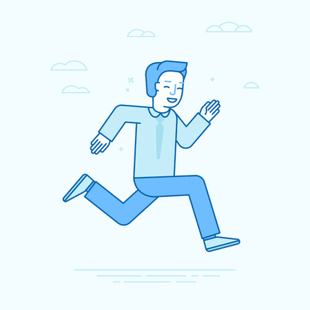 business competition: Vector illustration in flat linear style and blue colors - business competition concept - running and smiling guy