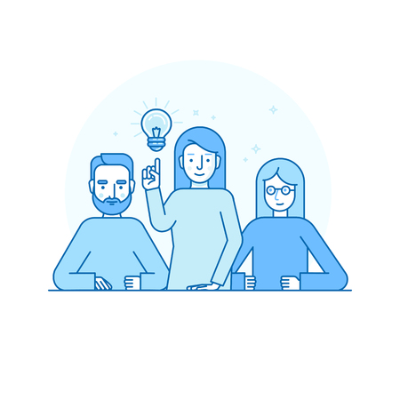 business team: Vector illustration in flat linear style and blue colors - creative team concept - man and woman solving problems and brainstorming