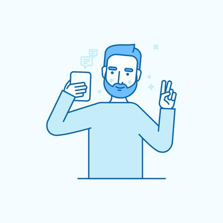 Vector illustratie in vlakke lineaire stijl en blauwe kleuren - man die zelfie maakt met zijn mobiele telefoon of video opneemt of chatten met zijn vrienden online - internet of video blog concept