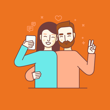 phone vector: Vector illustration in flat linear style and blue colors - man and woman making selfie using mobile phone or recording video or chatting with friends online - internet or video blog concept Illustration