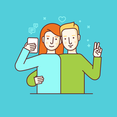 Vector illustration in flat linear style and blue colors - girl and boy making selfie using mobile phone or recording video or chatting with followers and subscribers online - internet or video blog concept Illustration