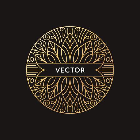 Icono del vector y la plantilla de diseño del monograma en el estilo lineal moderno y los colores de oro sobre fondo negro con copia espacio para el texto - el emblema de la belleza abstracta o de lujo producto Foto de archivo - 61264396