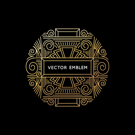 retro floral: Vector icon and monogram design template in trendy linear style and golden colors on black background with copy space for text - abstract emblem for beauty or luxury product