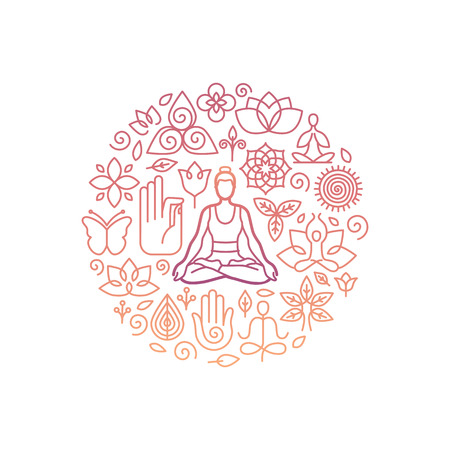 Vector icon design template in trendy linear style with icons and signs - emblem for yoga class, holistic healing centers, meditation practice and course Vettoriali