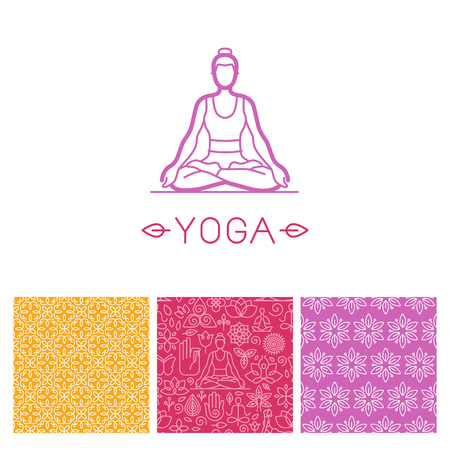 Vector set of icon design template in trendy linear style and seamless patterns - emblem for yoga class, holistic healing centers, meditation practice courses Illustration