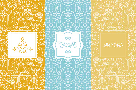 Vector labels and seamless patterns with icons and signs in trendy linear style - yoga concepts and logo templates - design for packaging and posters
