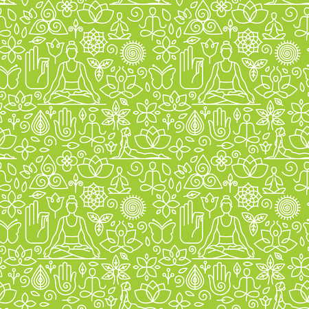 Vector seamless pattern with icons and signs in trendy linear style - yoga concepts - design templates for packaging and posters Illustration