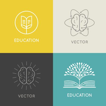벡터 추상적 인 로고 디자인 템플릿 - 온라인 교육 및 학습 개념 - 책 상징과 뇌 아이콘 - 교육 과정, 수업 및 학교 상징