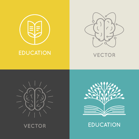 Vector abstract logo design template - online education and learning concept - book emblem and brain icons  - emblem for courses, classes and schools
