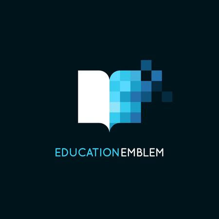 Vector plantilla de diseño del logotipo abstracto - concepto de educación en línea y el aprendizaje - icono del libro y los píxeles - emblema para cursos, clases y escuelas Logos