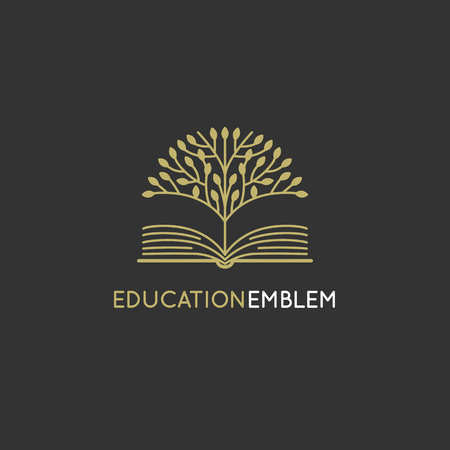 Vector abstract logo design template - online education and learning concept - tree and book icon - emblem for courses, classes and schools