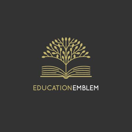 Vector plantilla de diseño del logotipo abstracto - educación en línea y el concepto de aprendizaje - el árbol y el icono del libro - emblema para cursos, clases y escuelas Logos
