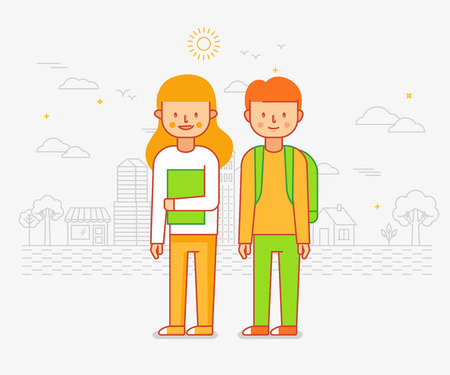 Vector illustration in flat linear style - happy boy and girl going to school - cartoon characters - back to school concept Illustration