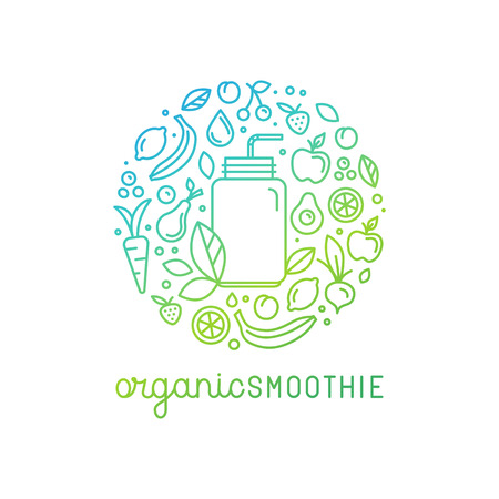 glass jar: Vector logo design template in trendy linear style with icons and signs - emblem for smoothie packaging - fruits, vegetables and glass jar Illustration