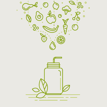 Vector illustrations in trendy linear style - healthy smoothie infographics design elements - jar with fruits and vegetables
