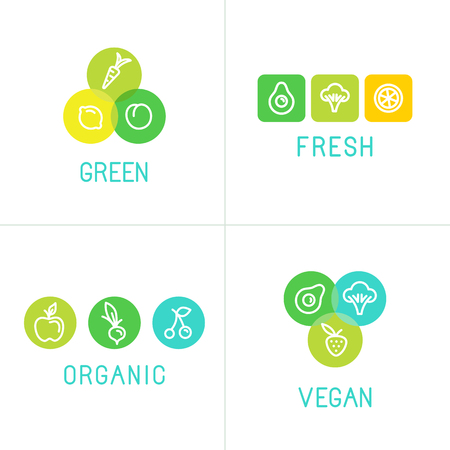 Vector illustrations and logo design templates - smoothie and health organic food - emblems for vegetarian product packaging