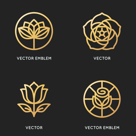 Vector logo design templates and signs in trendy linear style and golden colour - flower emblems - symbols for organic and floral cosmetics