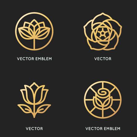 Vector logo modèles de conception et de signes dans le style linéaire branché et couleur dorée - fleur emblèmes - symboles pour les cosmétiques bio et floraux