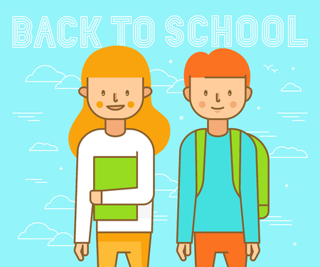 Vector illustration in flat linear style - happy boy and girl going to school - cartoon characters - back to school concept Ilustração