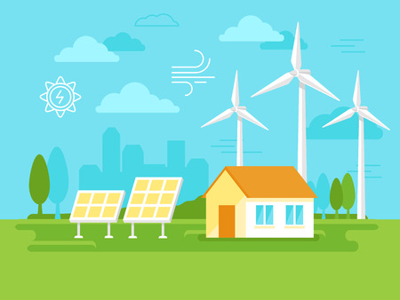 illustration in simple flat style - alternative and renewable energy - wind-powered electrical generators, solar panels and farm house with natural landscape