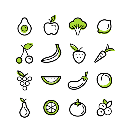 set of icons and illustrations in trendy linear style - healty, organic and vegan food collection - fruits and vegetables on white background