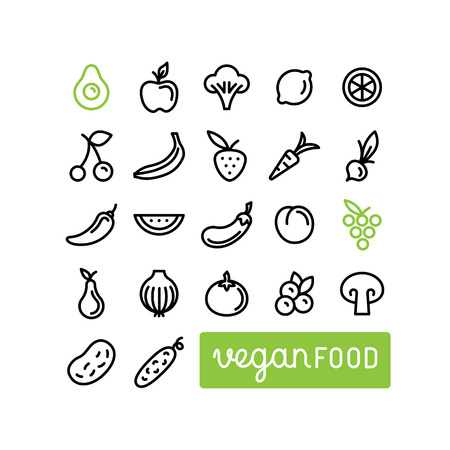 healty food: set of icons and illustrations in trendy linear style - healty, organic and vegan food collection - fruits and vegetables on whiten background Illustration
