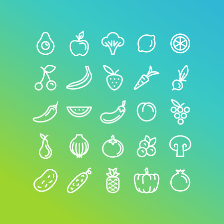 healty food: set of icons and illustrations in trendy linear style - healty, organic and vegan food collection - fruits and vegetables on green background Illustration