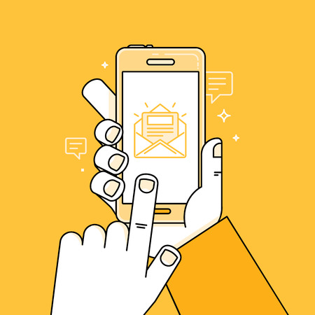 벡터 일러스트 레이 션 간단한 선형 플랫 스타일과 밝은 노란색 - 손으로 휴대 전화와 손가락으로 화면 감동 - 메시지와 함께 응용 프로그램 - 새 문자