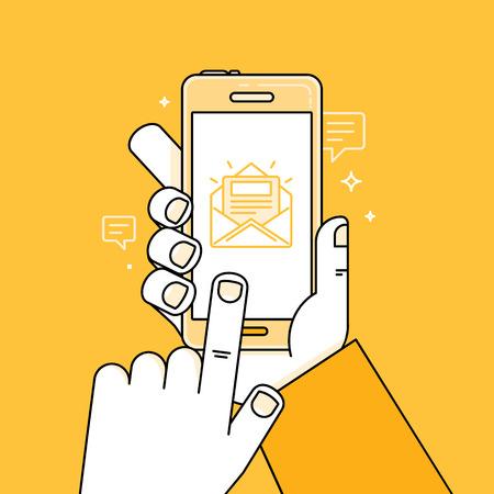 Ilustración vectorial en estilo simple plano lineal y color amarillo brillante - mano con teléfono móvil y dedo tocar pantalla - aplicación con mensaje - notificación sobre nueva carta o tarea Ilustración de vector