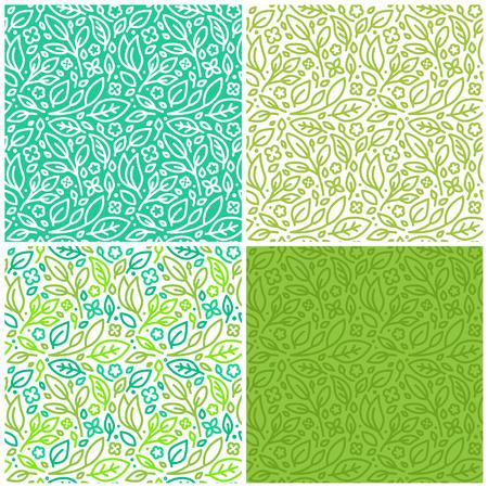 シームレスなパターンと緑の葉と花・有機・健康食品、自然化粧品やビーガン製品の抽象的な背景のベクトルを設定