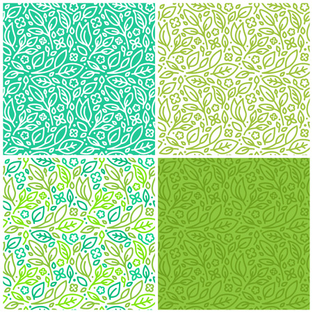 Vector set of seamless patterns and abstract backgrounds with green leaves and flowers - for organic and healthy food packaging, natural cosmetics and vegan products Vettoriali