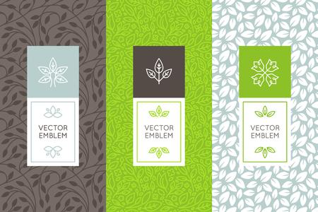 Vector conjunto de plantillas de diseño de envases, patrones de costura y marcos con copia espacio para el texto de cosméticos, productos de belleza, comida orgánica y saludable con hojas verdes y flores - adornos de estilo moderno y fondos