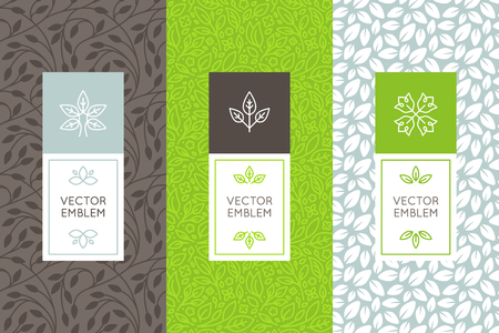 food packaging: Vector set of packaging design templates, seamless patterns and frames with copy space for text for cosmetics, beauty products, organic and healthy food with green leaves and flowers - modern style ornaments and backgrounds
